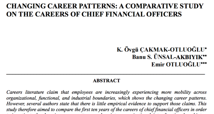 Changing Career Patterns: A Comparative Study on the Careers of Chief Financial Officers