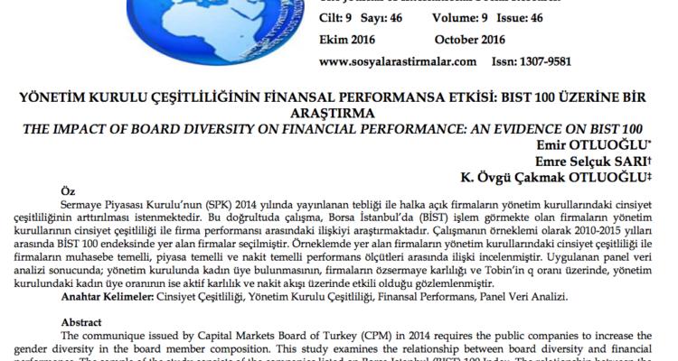 Yönetim Kurulu Çeşitliliğinin Finansal Performansa Etkisi: BİST 100 Üzerine Bir Araştırma